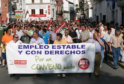 Manifestación de trabajadores de la piel el 26 de mayo de 2011