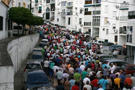 Manifestación de trabajadores de la piel el 31 de mayo de 2011