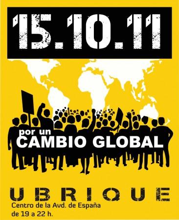 Cartel anunciador de la concentración del 15 de octubre de 2011 en la avenida de España.