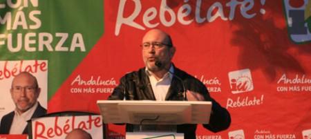 Ignacio García, en su intervención en el acto electoral de IU en Ubrique.