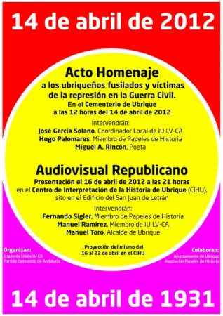 Cartel anunciador de los actos sobre la República.