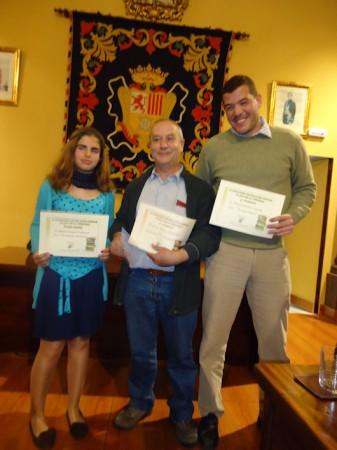 María López (premio infantil), José Pino y David Sierra (2º y 3º premios en la modalidad de adultos).
