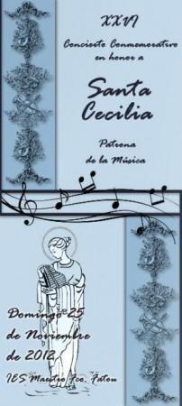 Portada del díptico anunciador del concierto de Santa Cecilia.