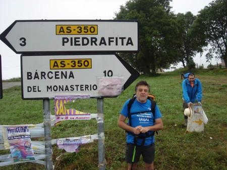 Bifurcación entre Piedrafita y Bárcena.