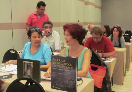 Representantes de Afresama y Foro por la Memoria del Campo de Gibraltar, en la reunión con miembros de la ONU.