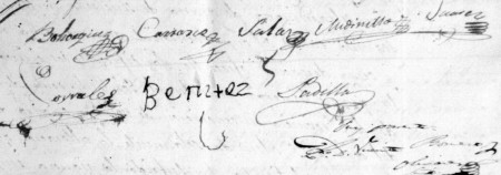 Rúbricas de los capitulares de Ubrique de 1843 (AHMU).