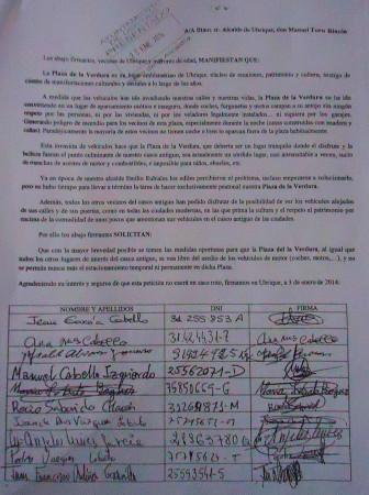 Primera página de los pliegos de firmas.