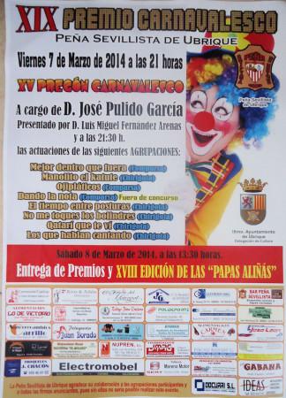 Cartel del XIX Premio Carnavalesco de la Peña Sevillista de Ubrique.