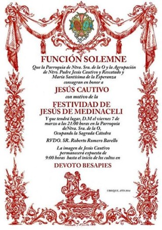 Cartel de la ceremonia en honor a Jesús Cautivo.