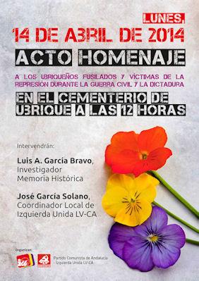 Cartel del homenaje en la conmemoración del 14 de abril.