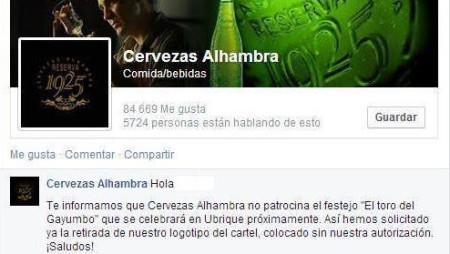 Captura del comunicado de Cervezas Alhambra en facebook.