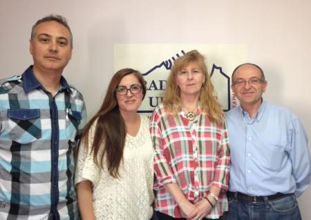Los cuatro primeros candidatos de Izquierda Unida, Pepi Morales Girón, Miguel González, Manuel Ramírez y Lola Godoy, en Radio Ubrique.