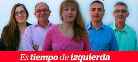 Pepi Morales Girón y los siguientes cuatro candidatos de la lista de IU.