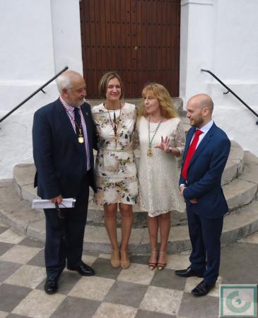 La alcaldesa, con los portavoces de los grupos de la oposición.