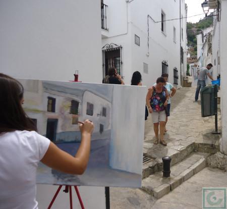 Pintora en la calle Madera.