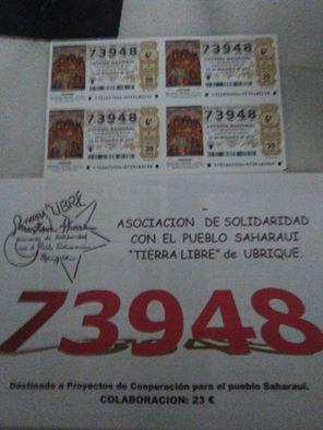 Lotería para apoyar al pueblo saharaui.