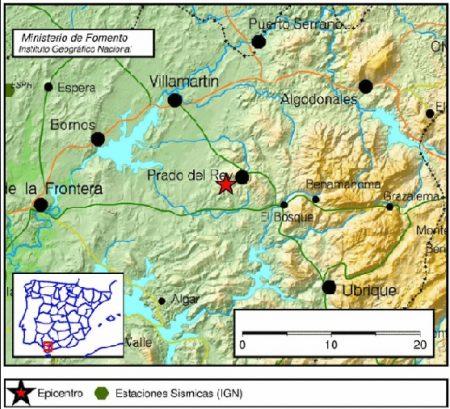 Mapa del movimiento sísmico (IGN).