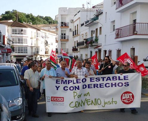 Manifestación de trabajadores de la piel el 2 de junio de 2011