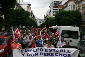 La manifestación de marroquineros, por la avenida de España el 9 de junio de 2011 (Foto: Rami)