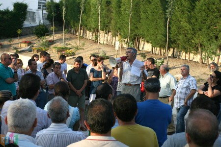 Intervención de Francisco Rubio (CCOO) en la asamblea de trabajadores de la piel en el Jardín