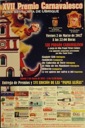 Cartel del XVII Premio Carnavalesco de la Peña Sevillista de Ubrique.