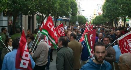 Concentración en la avenida de España el 29 de marzo de 2012.