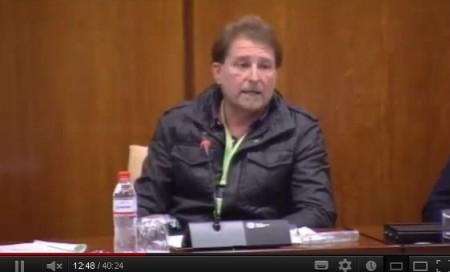 Andrés Rebolledo, en el Parlamento andaluz.