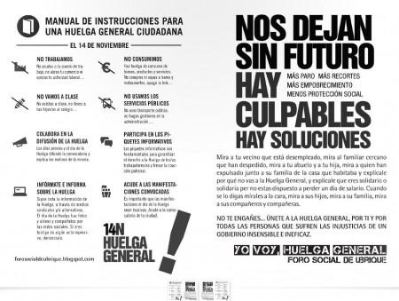 Llamamiento a la huelga del 14-N del Foro Social de Ubrique.