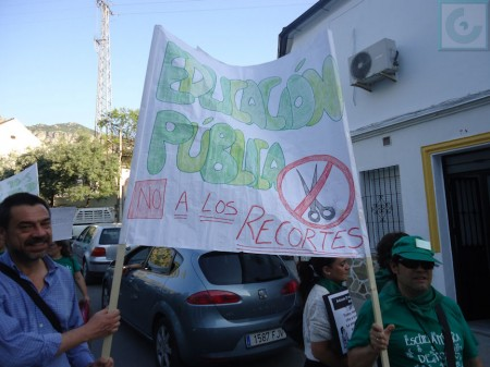 Pancarta contra los recortes.