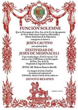 Cartel de la ceremonia en honor a Jesús Cautivo.