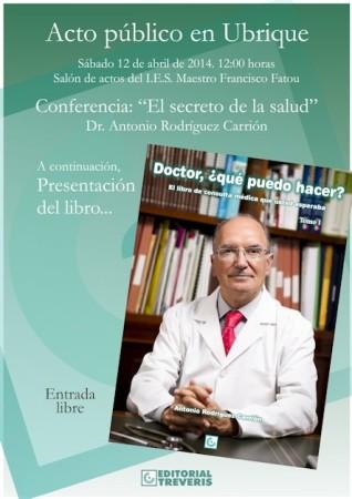 Invitación a la conferencia y la presentación del libro del Dr. Antonio Rodríguez Carrión.