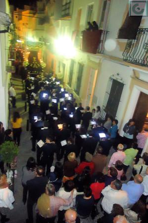 La procesión, camino de la Plaza del Ayuntamiento.