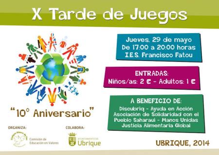 Cartel de la X Tarde de Juegos.