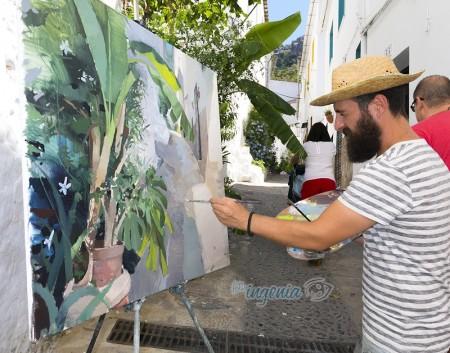 Uno de los galardonados, durante la jornada de pintura al aire libre.