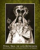 Cartel con la imagen de la Patrona.