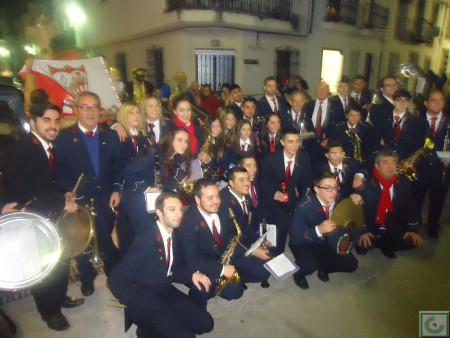 La Agrupación Musical Ubriqueña, al incorporarse a la cabalgata de la Peña Sevillista.