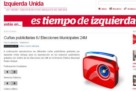 Captura de la web de Izquierda Unida de Ubrique.