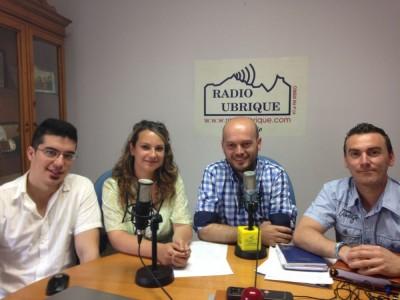 José Antonio Bautista, candidato del PA a la Alcaldía, con María Jesús Pérez, Sergio Dorado y Miguel Ramos (Foto: Radio Ubrique).