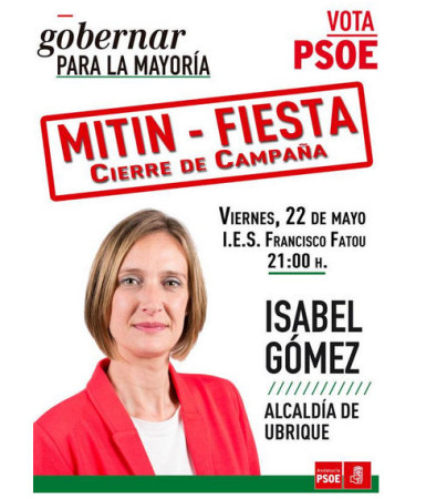 Cartel del mitin del PSOE.