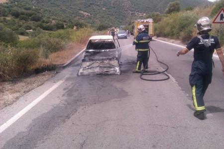 Los bomberos, en la operación de extinción del incendio.