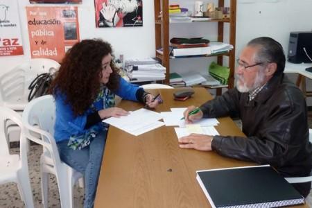 Inmadulada Nieto y José García Solano, en la sede de IU.