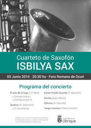Cartel del concierto del Cuarteto de Saxofón Isbilya Sax.