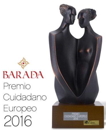 Escultura de la artista Àngels Peruliu, otorgada a Barada como premio al diseño.