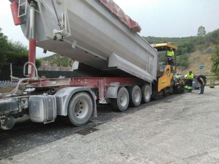 Obras de reparación de carretera.