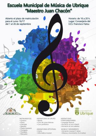 Cartel de la Escuela Municipal de Música.