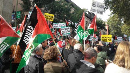Manifestación en apoyo del pueblo saharaui celebrada en Madrid.