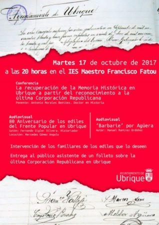 Audiovisuales, conferencia, folleto informativo e intervención de familiares de ediles de la última corporación republicana, el martes 17 de octubre en el IES Maestro Francisco Fatou