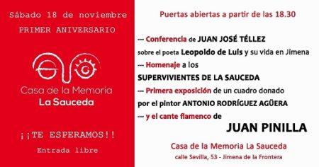 Invitación al primer aniversario de la Casa de la Memoria La Sauceda.
