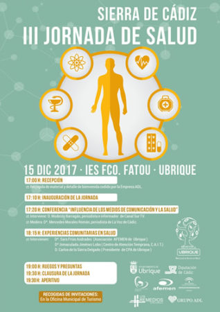 LaIII Jornada de Salud 'Sierra de Cádiz', el 15 de diciembre en el IES Maestro Francisco Fatou