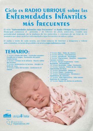 Ciclo sobre enfermedades infantiles más frecuentes, en la Escuela de Salud, en Radio Ubrique, a partir del 7 de febrero